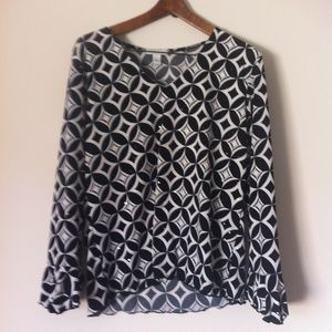 Dress Barn Black & White LS Sparkly Blouse